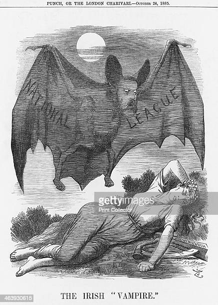 'The Irish Vampire' 1885 A vampire bat hovers over a prone Hibernia From Punch or the London Charivari From Punch or the London Charivari October 24...