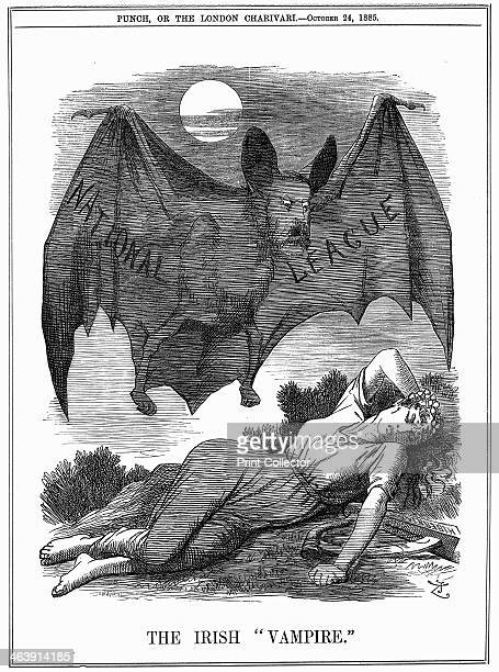 'The Irish Vampire' 1885 The Irish National League with the face of Charles Stewart Parnell shown as a vampire preying on Ireland Cartoon from Punch