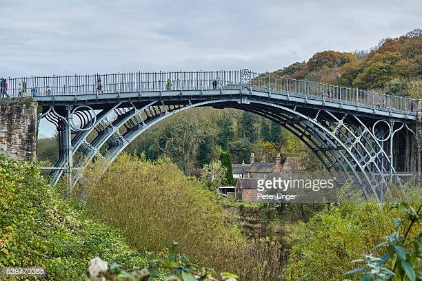 the iron bridge over the river severn - ironbridge shropshire stock pictures, royalty-free photos & images