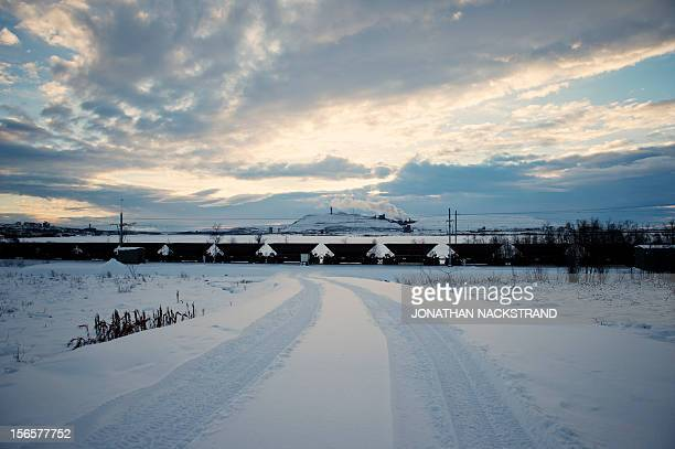 The iron mine of Swedish state-owned mining company LKAB at Sweden's northernmost town of Kiruna, situated in the province of Lapland is pictured on...