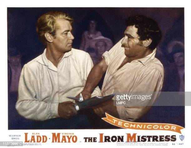 The Iron Mistress US lobbycard from left Alan Ladd Anthony Caruso 1952