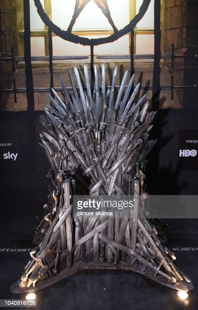 The 'Iron throne' a prop of the US television show 'Game of Thrones' is on display during the preopening event of the exhibition of the US television...