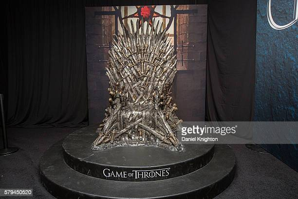 The Iron Throne display at the Hall of Faces presented by the HBO hit series Game of Thrones at ComicCon International Day 3 on July 22 2016 in San...