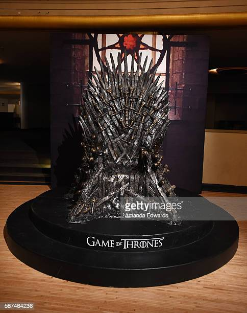 The Iron Throne is displayed at HBO's Game Of Thrones Live Concert and QA event with composer Ramin Djawadi at the Hollywood Palladium on August 8...