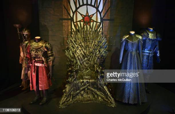 The Iron Throne room can be seen on display at the Game Of Thrones: The Touring Exhibition press launch at Titanic Exhibition Centre on April 10,...
