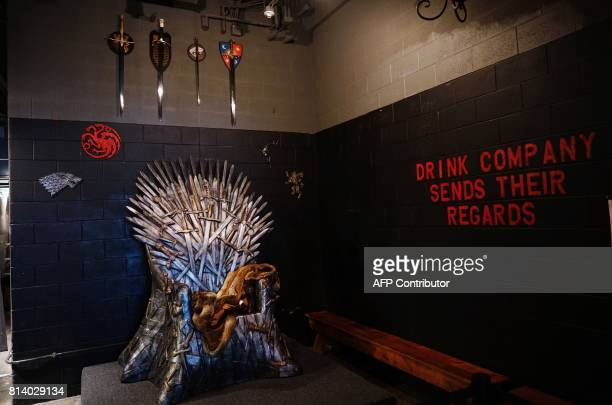 The Iron Throne where patrons can pose for photos is seen at the Game of Thrones popup bar in Washington DC on July 12 2017 As Game of Thrones...