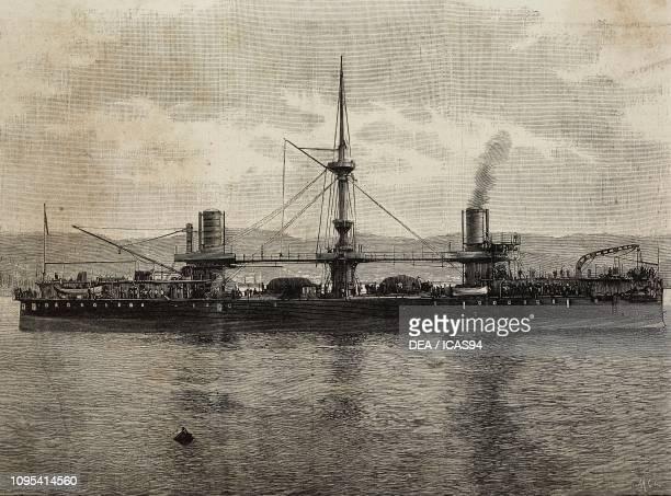 The ironclad battleship Andrea Doria Italy engraving from a photograph by Conti Vecchi from L'Illustrazione Italiana No 12 March 23 1890