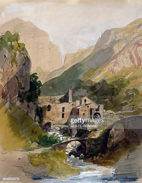 The ironworks in the Valley of the mills by Thomas Ender watercolour pencil drawing 38x30 cm Austria 19th century Karlsruhe Staatliche Kunsthalle