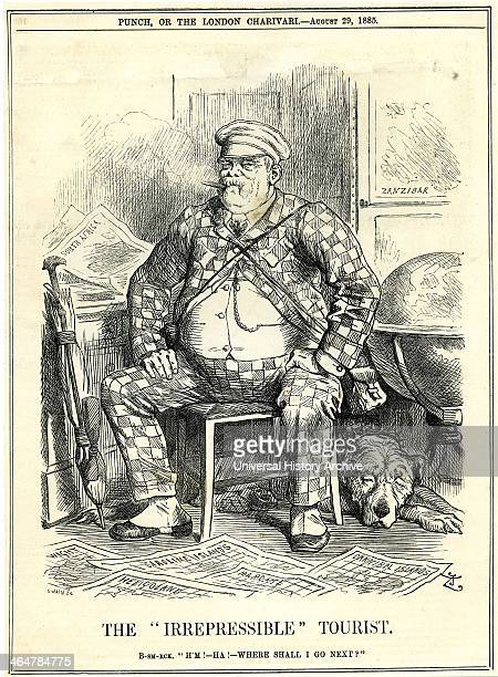 The Irrepressible' Tourist' Otto von Bismarck Chancellor of Germany as depicted by John Tenniel in 'Punch' London 29 August 1885 the year in which he...