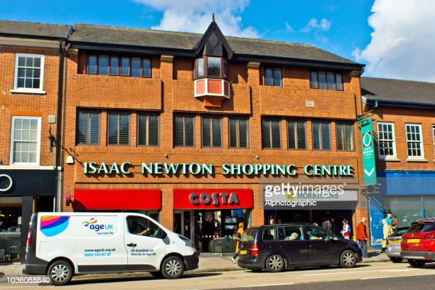 the isaac newton shopping mall - grantham lincolnshire stock photos and pictures