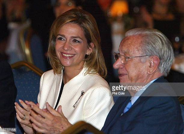 The ISAF Rolex World Sailor of the year awards 2003 Cristina Duquesa de Palma sits with Excmo Sr D Juan Antonio Samaranch during an awards ceromony...