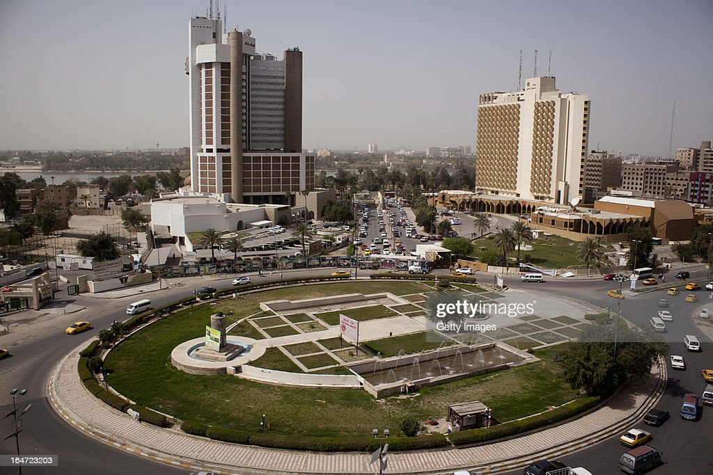 The Ishtar and Palestine Hotels stand next to Firdos Square