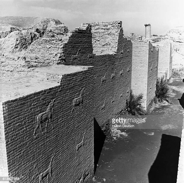 The Ishtar Gate and The Hanging Towers of Babylon at the ancient city of Babylon the capital of Mesopotamia Iraq's most famous archaeological site |...