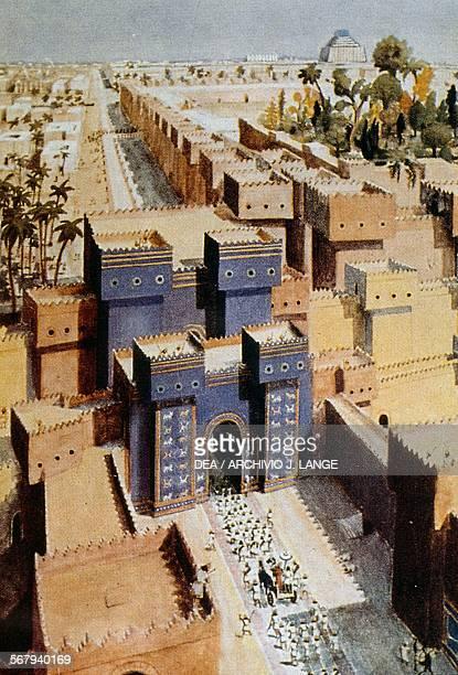 The Ishtar Gate in Babylon illustration Iraq
