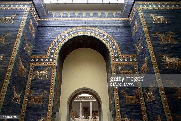 The Ishtar Gate reconstruction in the Pergamon Museum Berlin Germany Babylonian civilisation 2nd millennium 6th century BC Detail Berlin...