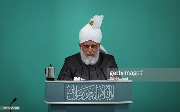 The Islamic Khalifa of the Ahmadiyya Muslim community Mirza Masroor Ahmad speaks at Baitul Futuh Mosque in Morden on September 21 2012 in London...