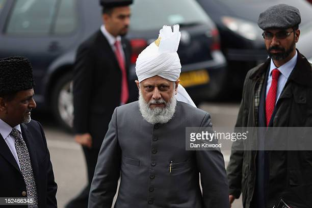 The Islamic Khalifa of the Ahmadiyya Muslim community Mirza Masroor Ahmad arrives to give a speach at Baitul Futuh Mosque in Morden on September 21...