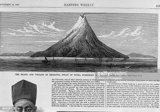 The Island and Volcano of Krakatoa Engraving in Harper's Weekly