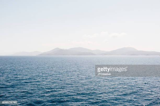 the island of Elba in the Mediterranean sea from the water.