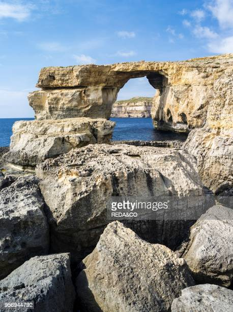 The island of Gozo in the maltese archipelago Azure Window an iconic natural arch or sea bridge at the coast of Gozo Europe Southern Europe Malta...