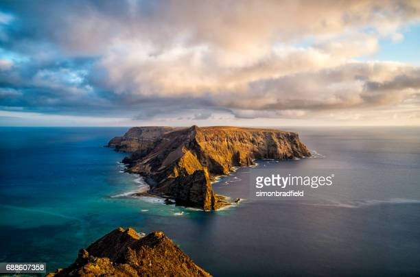 the island of ilhéu da cal in porto santo - lareira stock pictures, royalty-free photos & images