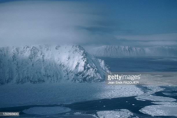 The island of little Diomede in Alaska United States Bering Sea foreground the island of Little Diomede background Big Diomede time zone between the...
