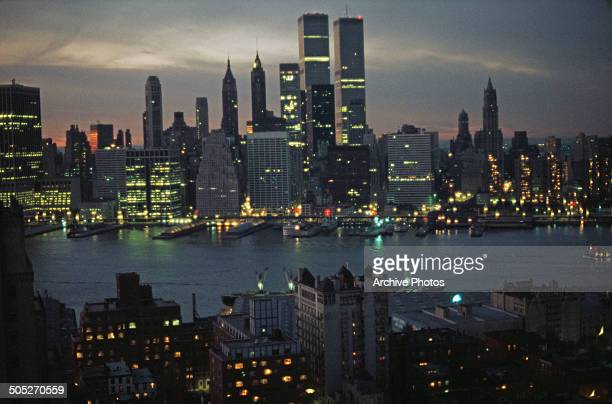 The island of Manhattan as seen from across the East River in Brooklyn New York City USA circa 1970