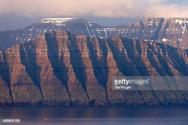 The islands of Kalsoy and Kunoy in the light of the midnight sun, Kalsoy, Norooyar, Faroe Islands, Denmark