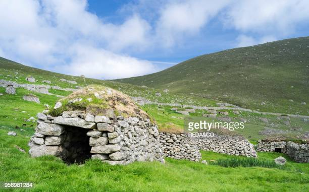 The islands of St Kilda archipelago in Scotland. Island of Hirta. Traditonal Cleit. A dry stone bothy used for storing food and other materials. It...