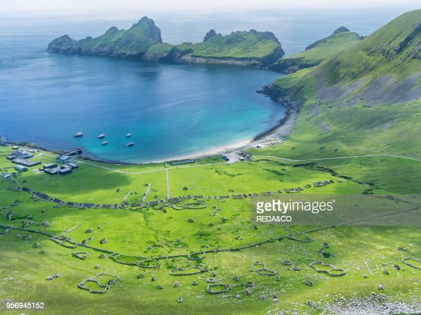 The islands of St Kilda archipelago in Scotland. Island of Hirta with village bay and the settelment abondoned 1930. It is one of the few places...