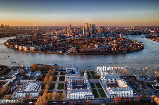 The Isle Of Dogs after sunset beside the O2 as viewed from Greenwich on February 25, 2018 in London, United Kingdom.