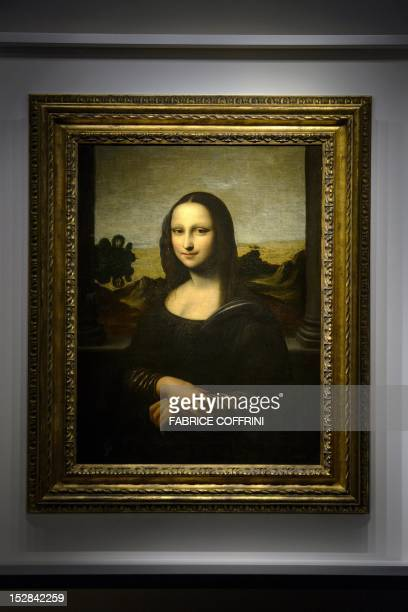 The 'Isleworth Mona Lisa' presented by the Mona Lisa Foundation on September 27 2012 in Geneva as an earlier version of the 'Mona Lisa' painted by...