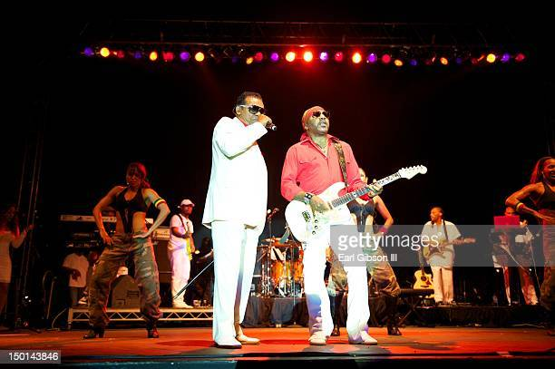The Isley Brothers featuring Ronald and Ernie Isley perform on the opening night of the Long Beach Jazz Festival on August 10, 2012 in Long Beach,...