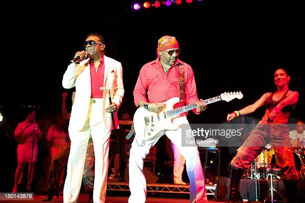 The Isley Brothers featuring Ronald and Ernie Isley perform on the opening night of the Long Beach Jazz Festival on August 10 2012 in Long Beach...