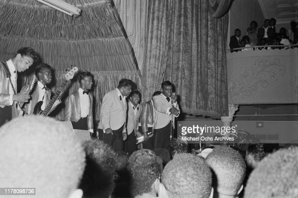 The Isley Brothers perform at a farewell party for R&B disc jockey Nathaniel 'Magnificent' Montague at the Rockland Palace in Harlem, New York City,...