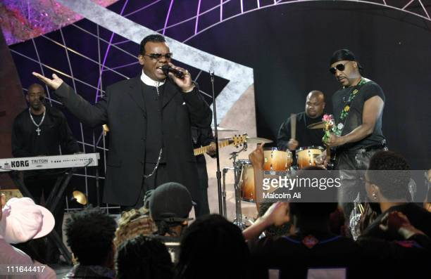 The Isley Brothers perform on Soul Train during Isley Brothers Perform on Soul Train October 12 2003 at Paramount Studios Studio 30 in Hollywood...