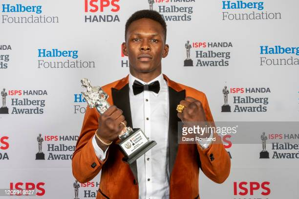 The ISPS Handa Sportsman of the Year Award winner is mixed martial arts Israel Adesanya at the ISPS Handa Halberg Awards on February 13 2020 in...