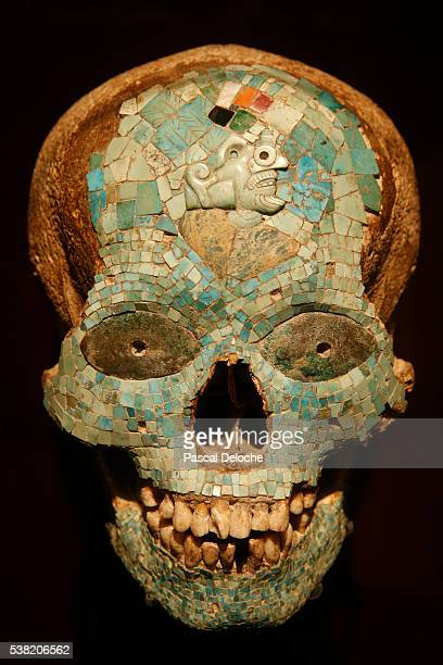 the israel museum. mask of xiutechuchli, god of fire. aztec-mixtec, mexico. 1325-1521 ce. - aztec mask stock pictures, royalty-free photos & images