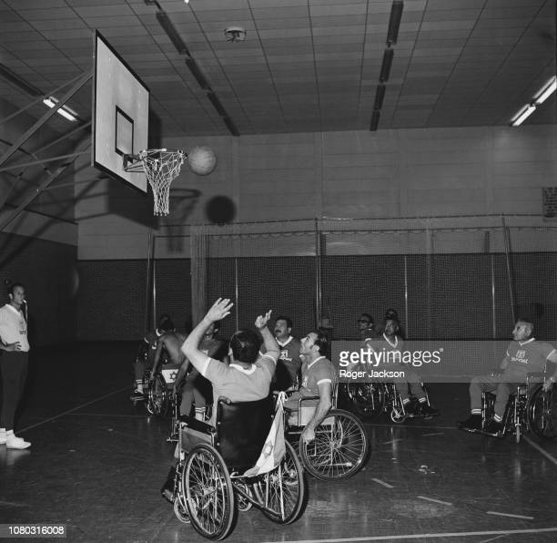 The Israeli basketball team training at the Stoke Mandeville Sports Stadium in preparation for the International Paraplegic Games Aylesbury...