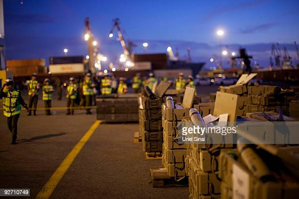 The Israeli military display hundreds of tonnes of arms seized at dawn on a ship bound for Syria and the Hezbollah militia in Lebanon around 100...
