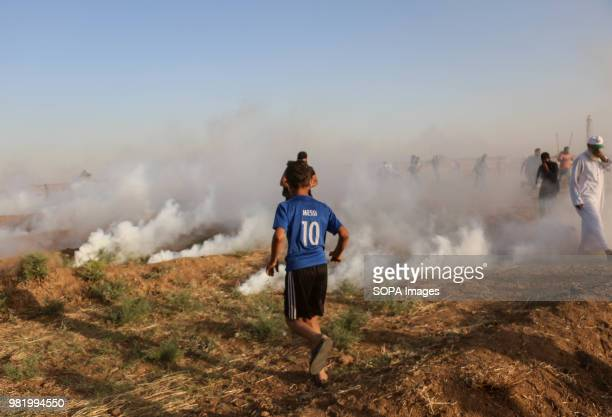 The Israeli military fired tear gas at the Palestinian civilians in east of Gaza City Clashes between Palestinian civilians and Israeli soldiers...