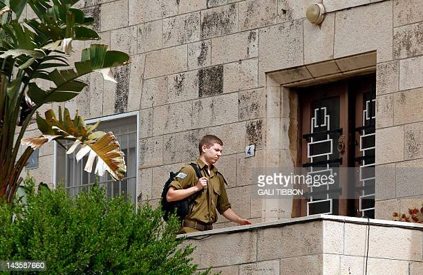 The Israeli Prime Minister's 19yearold son Yair Netanyahu enters the house of his grandfather Benzion Netanyahu on April 30 2012 in Jerusalem Benzion...