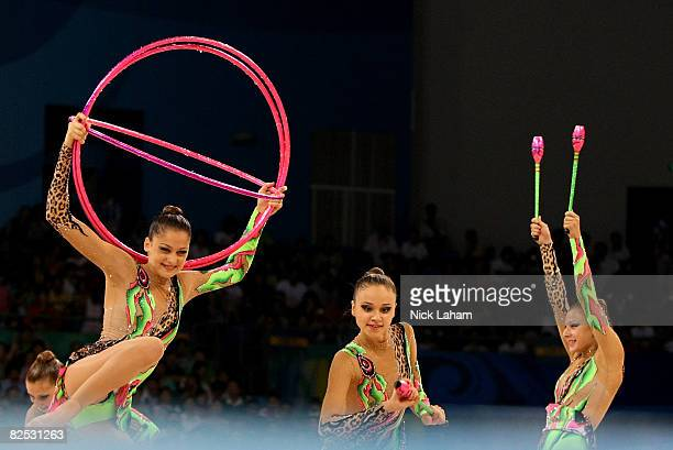 The Israeli team perform in the 3 Hoops and 2 Clubs rotation in the Group AllAround Final held at the Beijing University of Technology Gymnasium...