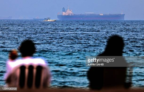 The Israeli-linked Japanese-owned tanker MT Mercer Street is seen off the port of the Gulf Emirate of Fujairah in the United Arab Emirates on August...