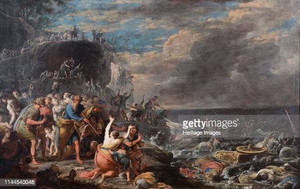 The Israelites crossing of the Red Sea Mid of 17th century Private Collection Artist Gargiulo Domenico