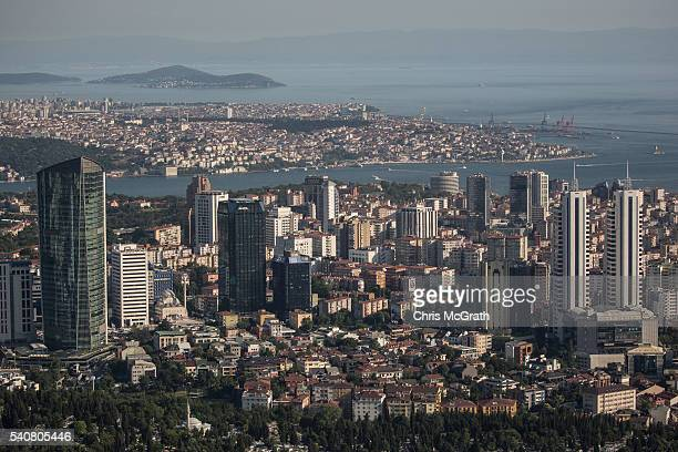 The Istanbul financial district is seen from a rooftop on June 16 2016 in Istanbul Turkey