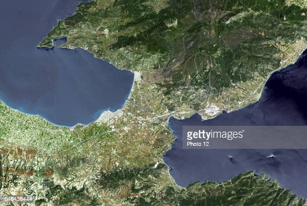 The Isthmus of Corinth is the only land bridge between the country's north and south Greece Satellite May 9 2005