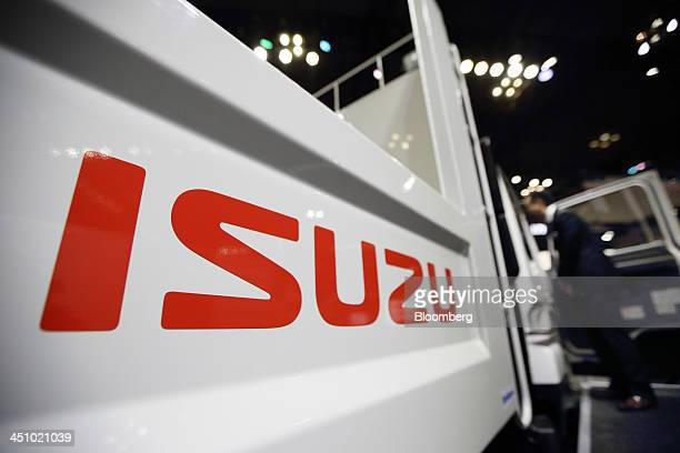 The Isuzu Motor Ltd logo is displayed on the company's truck at the 43rd Tokyo Motor Show 2013 in Tokyo Japan on Thursday Nov 21 2013 The autoshow...