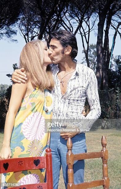 The Italian actor comician and TV host Walter Chiari passionately kissing the wife Alida Chelli Italian actress and singer After meeting on a...