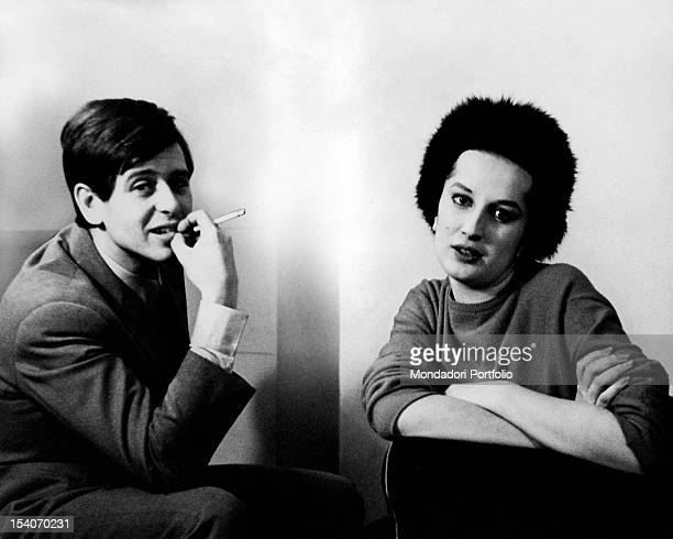 The Italian actor Corrado Pani sitting with his partner the Italian singer Mina a few months before the birth of their son Massimiliano Italy 1963